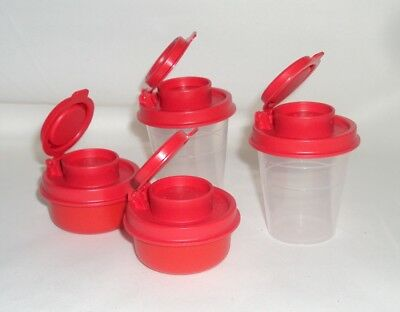 2 Tupperware Salt Pepper Shakers Set Mini Midget Smidgets Tiny Bowls Holiday Red