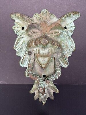 Antique Bronze French Door Knocker Early 1900's Lion & Face