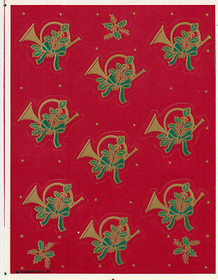 Sweet Vintage Hallmark Gold French Horns and Holly Christmas Sticker Sheet