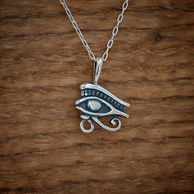 925 Sterling Silver Egyptian Eye of Ra - Eye of Horus Pendant FREE Cable Chain