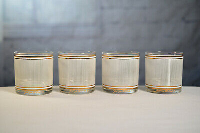 Vintage Mid Century Georges Briard Old Fashioned Glasses Low Ball Gold & White