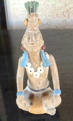 Vintage Precolumbian Style, Mayan Terra-cotta Male Figure Seated