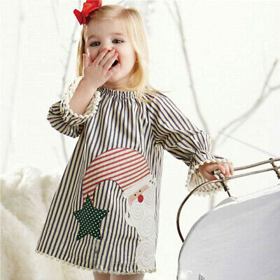 Toddler Kids Baby Girls Christmas Santa Striped Princess Dress  Outfits Sets