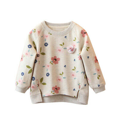Toddler Kids Baby Girls Floral Printing Long Sleeve Warm Tops T-Shirt Blouses
