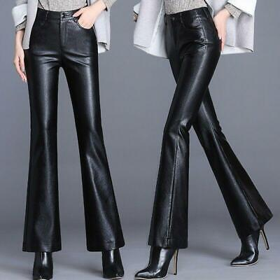 Women Faux Leather Flared Pants Bell-Bottoms Loose Warm Winter OL Trousers Pants