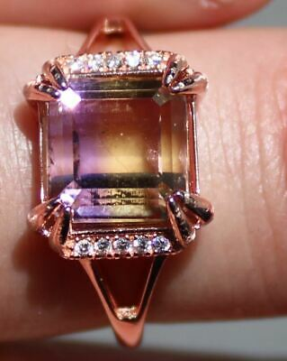 Ametrine 3.42ct Rose Gold Ring,Natural,Sourced Bolivia,Brand New,Adjustable Size