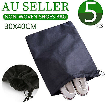 5x Portable Non-woven Shoes Bag Travel Storage Pouch Drawstring Dustproof Black