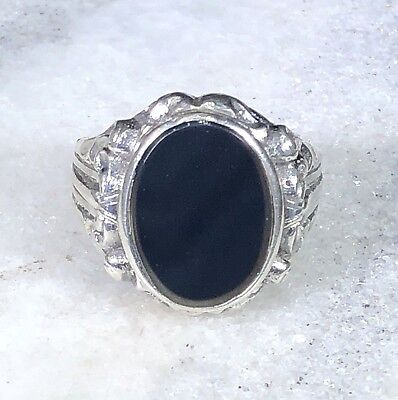 Vintage Antique Art Nouveau / Deco 835 Silver Onyx Signet Ring 10.25 Solid Piece