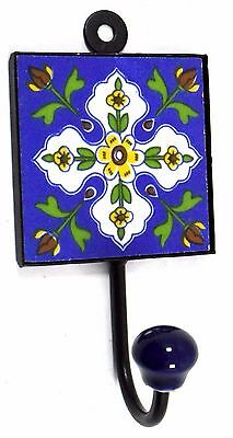 Highly Decorative Ceramic Tile Fitted Unique Iron Wall Hanging Hook. i75-69 UK