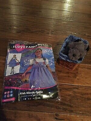 Girls Dorothy Wizard Of Oz Dress Up Outfit With Toto Dog And Basket Age 8-10