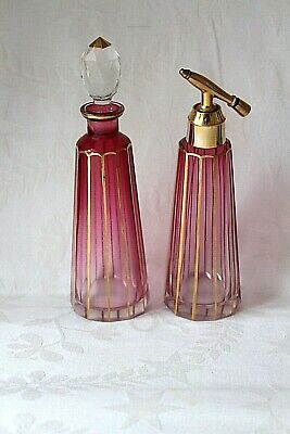 Antique Bohemian Moser Cranberry glass Perfume decanter and atomiser c 1930