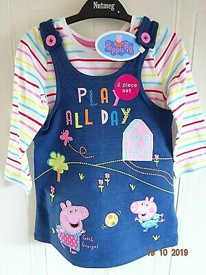 Pepper Peppa Pig Girl Denim Blue Pinafore Dress, Top Outfit Set  1 2 3 4 5 Years