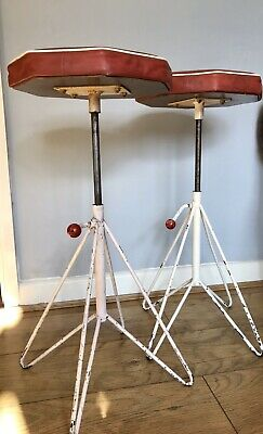 Mid Century Pair Of Atomic Age Industrial Hair Pin Stools, Original Seat Tops.