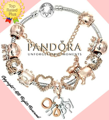 """Authentic Pandora Bracelet Silver Rose Gold """"HAPPY"""" with European Charms New"""