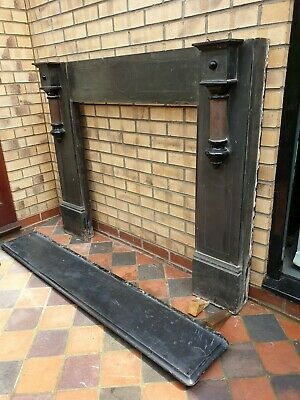 Antique Slate Fire Place Surround Victorian 1890 Original suit cast iron insert.