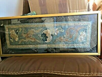 Antique Chinese silk embroidery panel framed