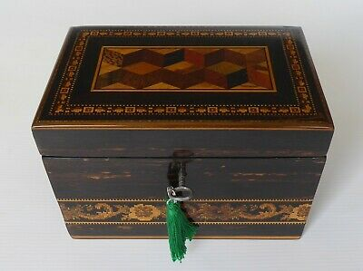Antique Tunbridge Ware Coromandel Single Tea Caddy with Key