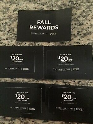 """5 Victorias Secret """"PINK"""" FALL REWARDS $20 Off $50 Purchase Oct. 22-28 Coupon"""