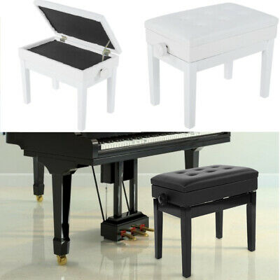 Classic Adjustable Leather Piano Wood Bench Storage Keyboard Stool Padded Seat