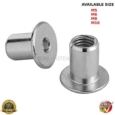 Sleeve Nuts M5 M6 M8 M10 Flat Head Hexagon Socket Furniture Cap Zinc Plated Bzp