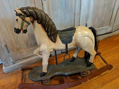 Antique Wooden Pull Toy  Rocking Horse