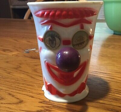 "Vintage 3.75"" Plastic Clown Cup with Lenticular Eyes & 3D Noses"