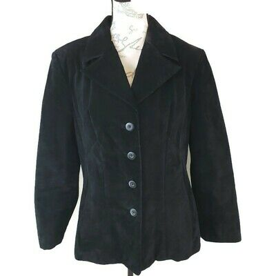 Wilsons Size Large Black Suede Leather Jacket Women's Comfort Casual Career BX