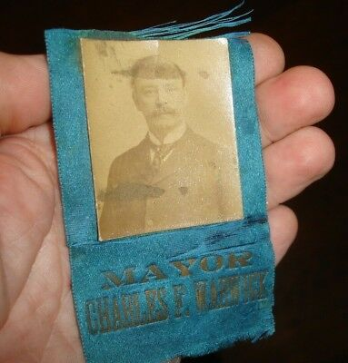Rare old 1890s REAL PHOTO political ribbon Charles F Warwick Philadelphia MAYOR