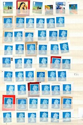60) 100 GB 2nd Class Stamps Unfranked On Paper As Shown FV £61.00
