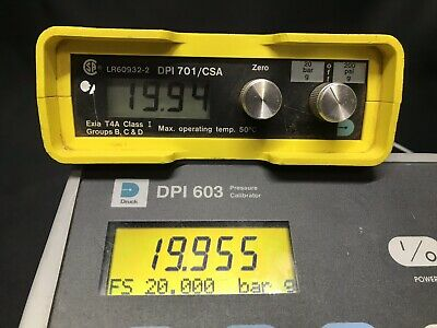GE Druck DPI 701 / CSA Digital Pressure Indicator Digital Gauge 20 Bar 200 PSI G