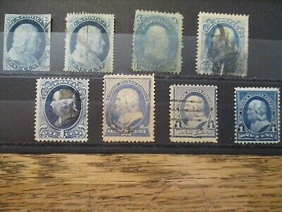 US lot of 8v different Ben Franklin 1 c postage stamps Pre 1900 used w/mint incl