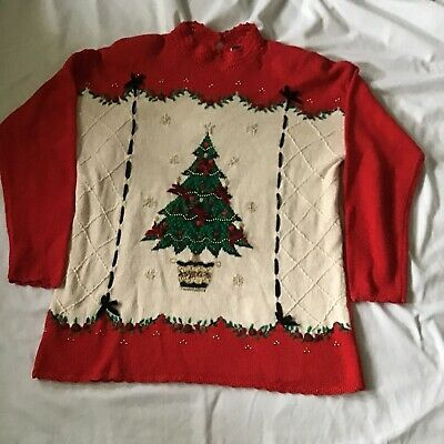 Ugly Christmas Tree Pull Over Sweater Size XL Beldochpopper Vintage Red Bows