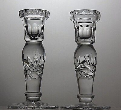 Pair Crystal Cut Glass Candle Holders, Candlesticks Tealight