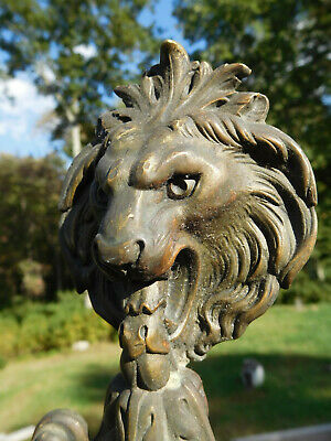 1900 Antique Victorian Roaring Lion 3-Candle Brass Scroll Candelabra Wall Sconce