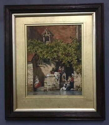Antique Victorian 19th Century Watercolour Painting In Oak Frame