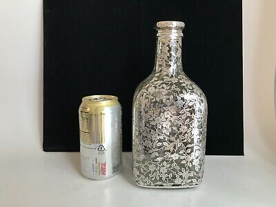 Antique Sterling Silver Overlay Etched Crystal Decanter Bottle Glass