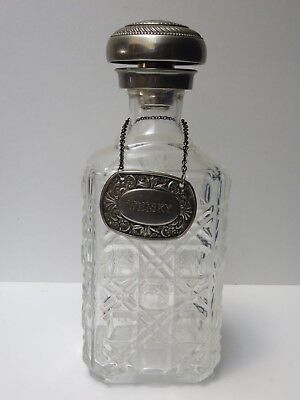 """Antique Pressed Glass Decanter, Silver Plated Lid & Collar 9 1/2"""" Tall"""