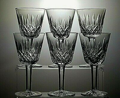 """WATERFORD CRYSTAL 'LISMORE' CUT CLARET WINE GLASSES SET OF 6 - 5 7/8""""(15 cm)TALL"""