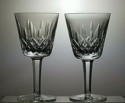 """WATERFORD CRYSTAL 'LISMORE' CUT CLARET WINE GLASSES SET OF 2 - 5 7/8""""(15 cm)TALL"""