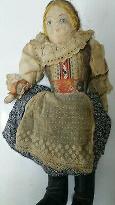 """Antique RARE Russian Painted cloth Face Very Old Doll 15"""" Tall GC"""