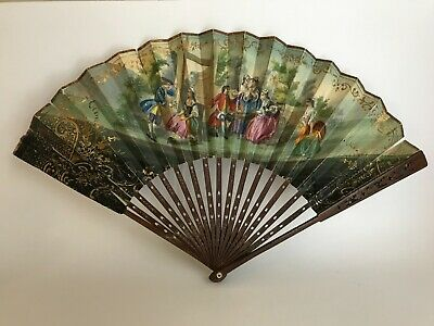 Antique French Victorian Two Side Hand Painted W/Wood Fan Frame, Collectable