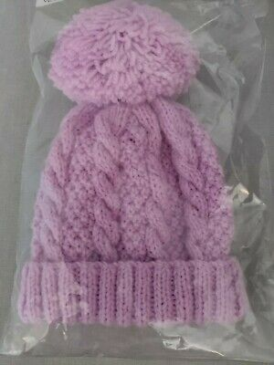 HAND KNITTED CHLDS BOB HAT CABLED BLUE AGE 0-3mths3-6mths6-12mths 1-2 /&3-4 yrs