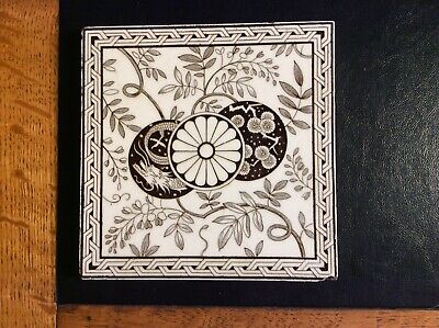 Antique Victorian Mintons Tile Geometric Black & White, Oriental, Stoke-on-Trent