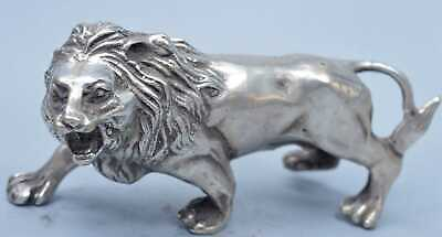 Handwork Collectable Decor Miao Silver Carve Mighty Lion Exorcism Lucky Statues
