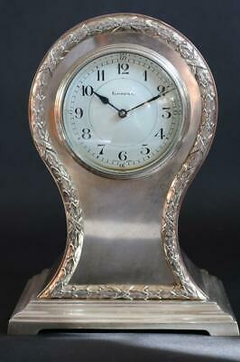 ELKINGTON SILVER MANTEL CLOCK with FRENCH 8 DAY CYLINDER MOVEMENT working