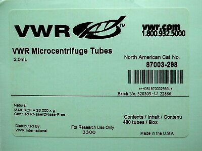 VWR Microcentrifuge Tubes, 2.0 ml, Natural Polypropylene, 400/box, 87003-298