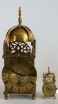 MINIATURE LANTERN or NELL GWYNN CLOCK by SMITHS exquisite, rare & perfect detail