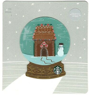 NEW STARBUCKS Gift CARD Gingerbread House Snow globe Holiday Christmas -No Value