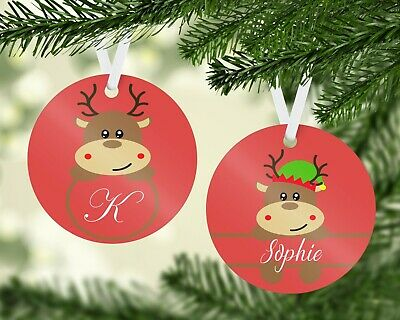 Personalised Reindeer Name Initial Hanging Christmas Ornament Tree Decoration