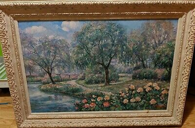 Large Original oil on canvas painting signed C. Perry framed